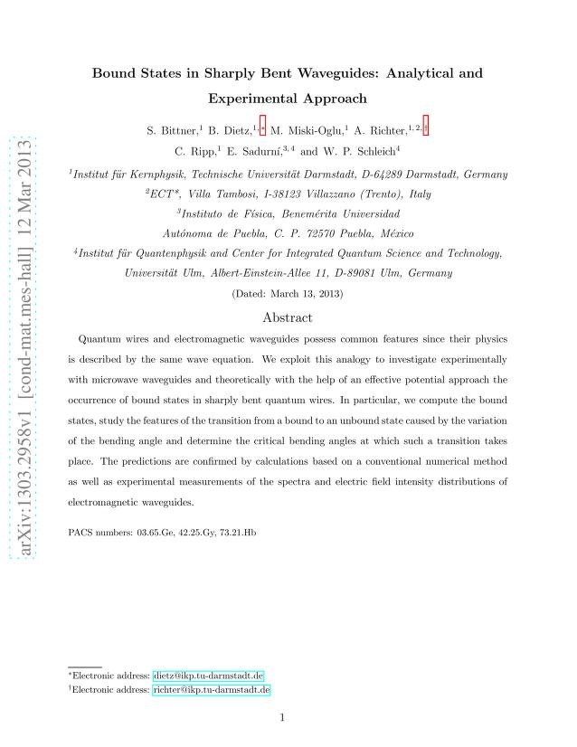 S. Bittner - Bound States in Sharply Bent Waveguides: Analytical and Experimental Approach