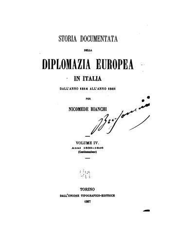 Storia documentata della diplomazia europea in Italia dall' anno 1814 all' anno 1861