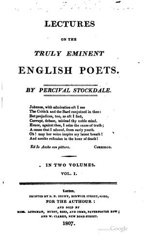 Download Lectures on the truly eminent English poets