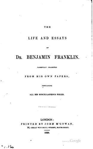 The life and essays of Dr. Benjamin Franklin