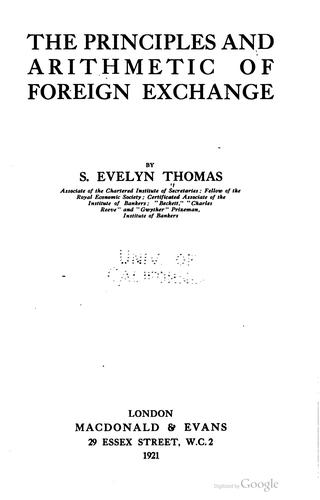 Download The principles and arithmetic of foreign exchange