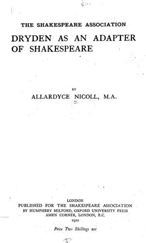 Download Dryden as an adapter of Shakespeare
