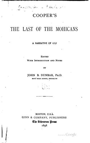 Download Cooper's The Last of the Mohicans