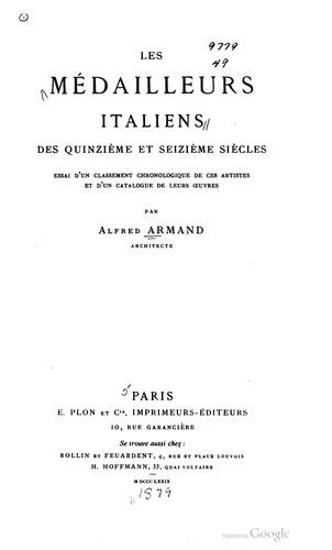 Download Les médailleurs italiens des quinzième et seizième siècles