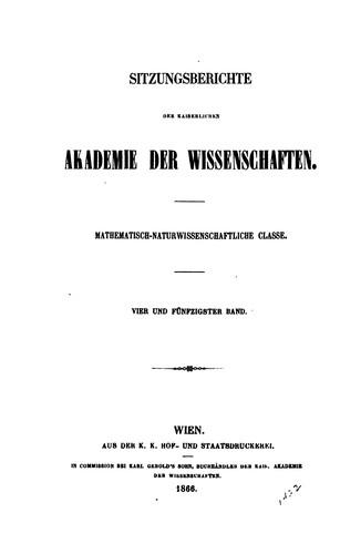 Sitzungsberichte der kaiserlichen Akademie der Wissenschaften, mathematisch …