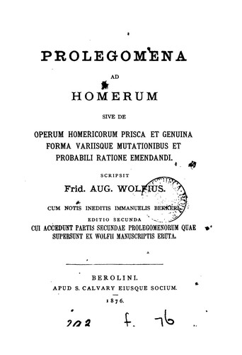 Download Prolegomena ad Homerum