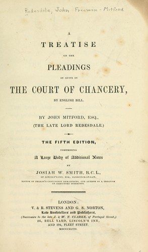 Download A treatise on the pleadings in suits in the Court of Chancery, by English bill.