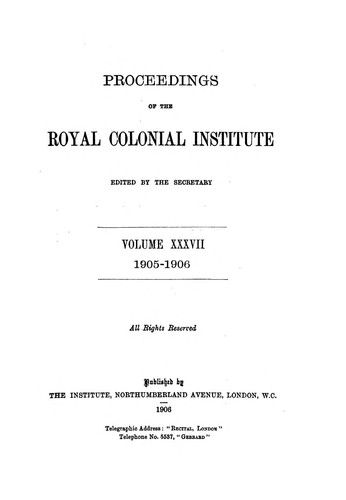 Proceedings of the Royal Colonial Institute