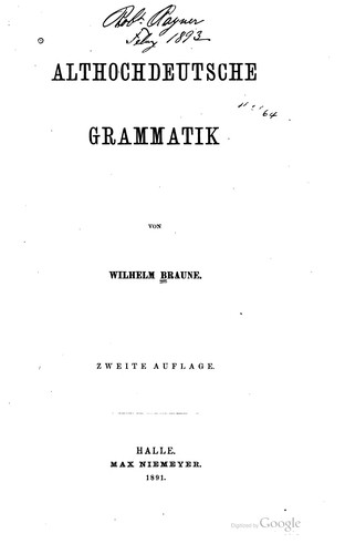 Download Althochdeutsche Grammatik