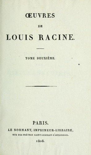 Oeuvres de Louis Racine