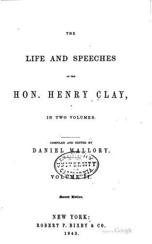 Download The life and speeches of the Hon. Henry Clay …