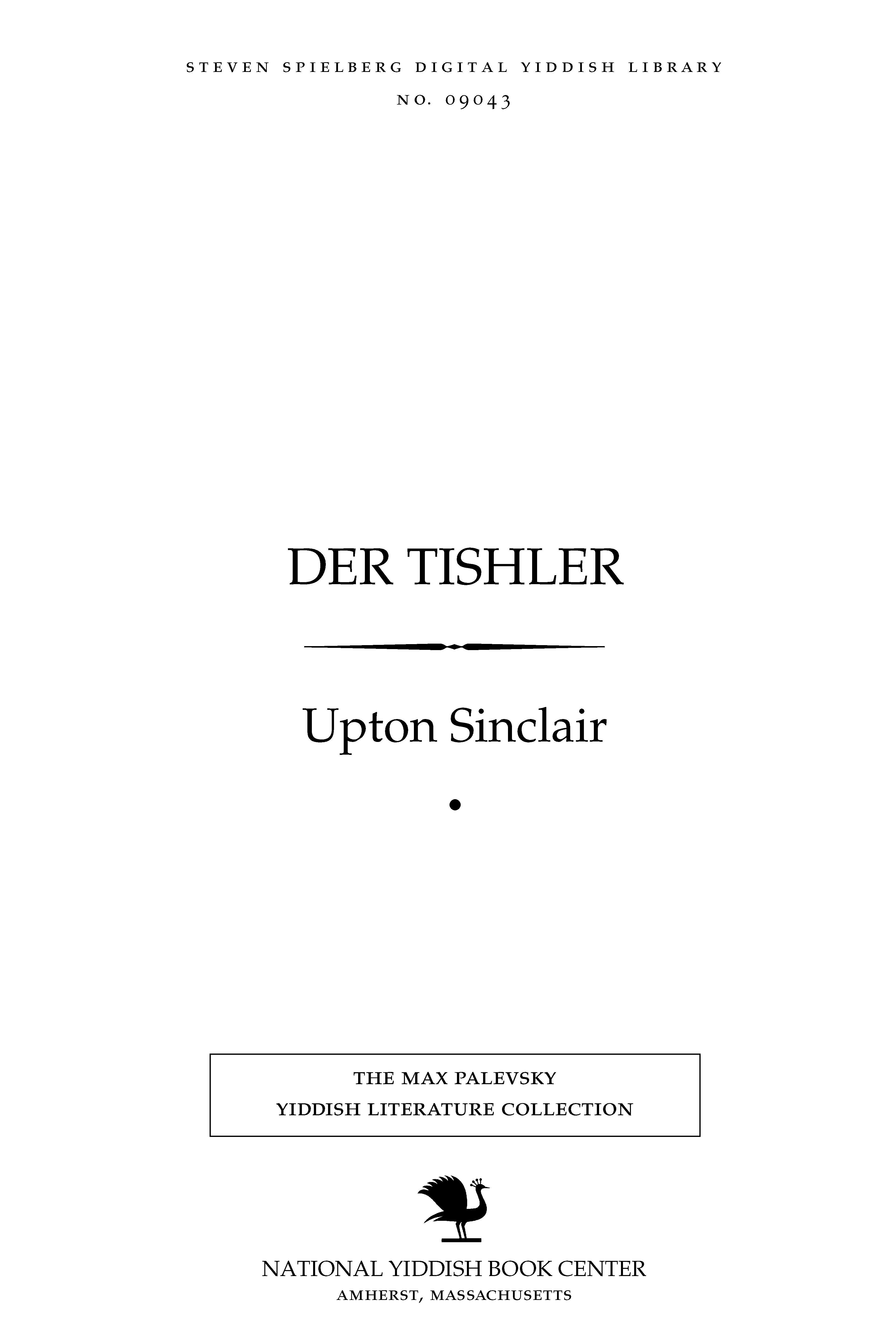 Cover of: Der ṭishler