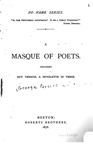 A masque of poets by George Parsons Lathrop