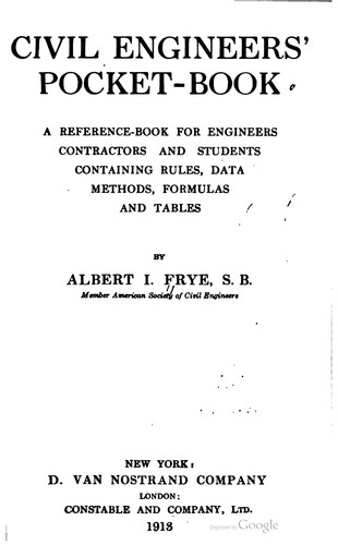 Civil engineers' pocket book by Albert Irvin Frye